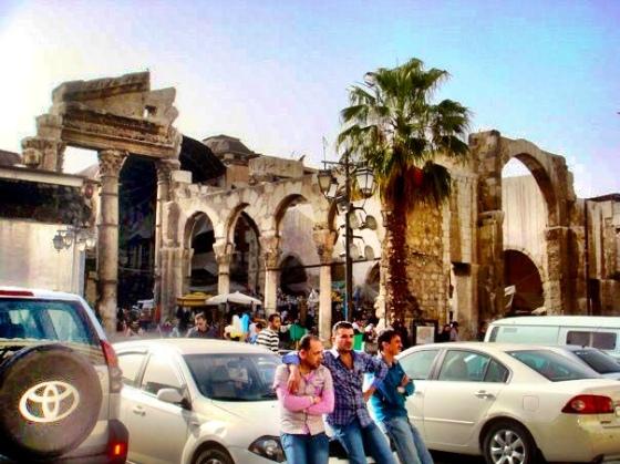Ruins of the Jupiter Temple at the entrance of Al-Hamidiyah Souq