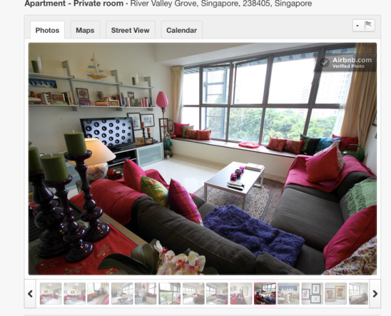 Airbnb listing in Singapore