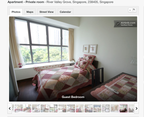 The guest room on listed on Airbnb