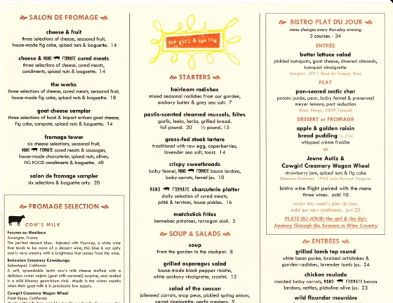 the girl & the fig - Menu