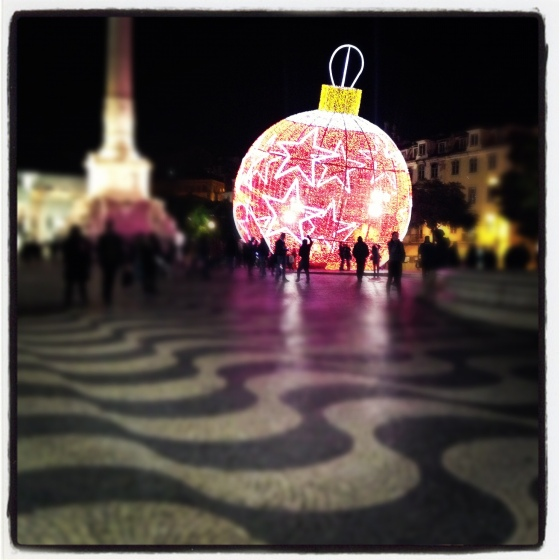 Christmas decorations at Rossio Square