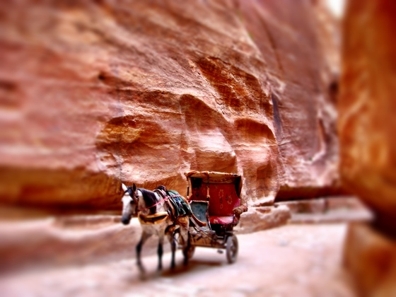 Horse-drown carriages can take you from Bab as-Sīq (Gateway to the Siq) till before the Treasury