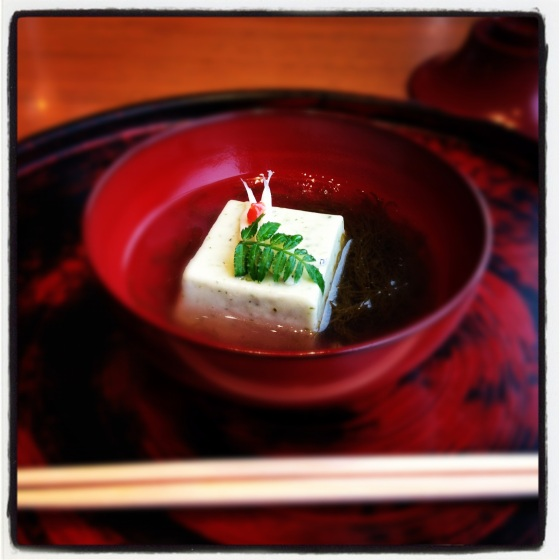 Deep fried greenling, yomogi tofu, udo greens, clear soup